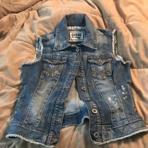 Guess distressed denim vest